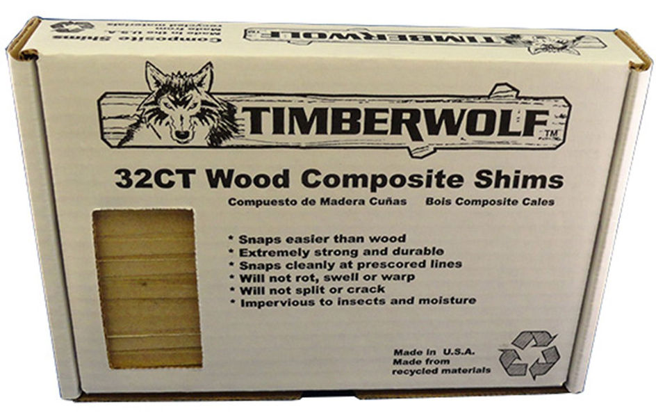 """An image showing the Timberwolf 8"""" Composite Contractor Shims in a storage case."""