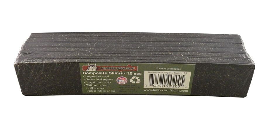 """An image showing the Timberwolf 8"""" Composite Shims in a 12-count pack."""